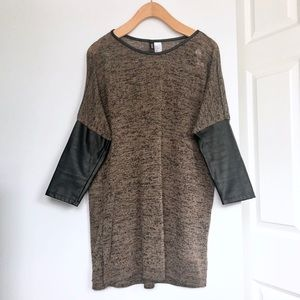 H&M Tunic Top Taupe Faux Black Leather 3/4 Sleeves